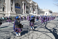 St. Patrick's Day Parade in NYC. Bagpipes, Drummers & Kilts marching in the St. Patrick's Day Parade - Circa 2010 Royalty Free Stock Photo