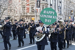St. Patrick's Day Parade in NYC. NYPD Band marching in the St. Patrick's Day Parade - Circa 2010 Stock Image