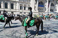 St. Patrick's Day Parade in NYC. Women on Horses marching in the St. Patrick's Day Parade - Circa 2009 Stock Images