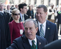St. Patrick's Day Parade in NYC. Mayor Michael Bloomberg shaking hands with those in the crowds - Circa 2009 Royalty Free Stock Photography
