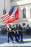 St. Patrick's Day Parade in NYC. Marines Carrying Flags in the St. Patrick's Day Parade - Circa 2009 Stock Image