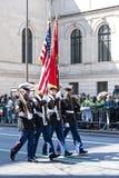 St. Patrick's Day Parade in NYC. Marines Carrying Flags in the St. Patrick's Day Parade - Circa 2009 Royalty Free Stock Photos