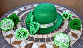 St. Patrick`s Day party hat, bow tie and flowers. Stock Images