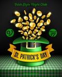 St Patrick`s Day party poster design. Saint Patrick`s Day party poster design, 17 March Feast of Saint Patrick celebration, club invitation with leprechaun hat Royalty Free Stock Photo