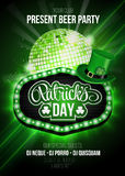 St. Patrick`s Day party poster with disco ball. St. Patrick`s Day party poster with ornate lettering, light frame and disco ball Stock Images
