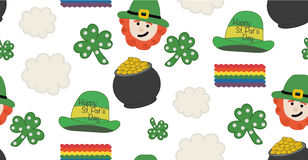 St. Patrick's day pattern with theme objects. Seamless pattern. illustration. Royalty Free Stock Photos