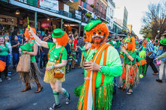 St. Patrick`s Day. People celebrating at the New Orleans St. Patrick`s Day Parade Royalty Free Stock Photo