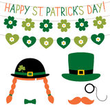 St. Patrick`s Day photo booth props set Stock Images