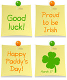 St. Patrick s Day Post It Set. Collection of four St. Patricks or Saint Patrick s Day greeting post it notes, on white background. Eps file available Royalty Free Stock Image
