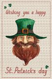 St. Patrick`s day postcard with hand drawn watercolor smiling leprechaun with a red beard in a green hat, lettering stock illustration