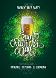 St. Patrick's Day poster. Beer party green background with calligraphy sign and beer mug. Royalty Free Stock Photo