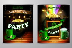 St. Patrick s Day poster. Vector illustration. St. Patrick s Day poster set. Vector illustration for party Royalty Free Stock Photos