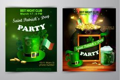 St. Patrick s Day poster. Vector illustration. St. Patrick s Day poster set. Vector illustration for party Stock Photos