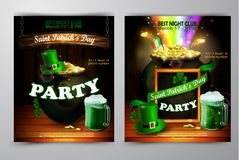 St. Patrick s Day poster. Vector illustration. St. Patrick s Day poster set. Vector illustration for party Stock Photography