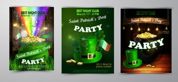 St. Patrick s Day poster. Vector illustration. St. Patrick s Day poster set. Vector illustration for party Royalty Free Stock Images