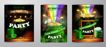 St. Patrick s Day poster. Vector illustration. St. Patrick s Day poster set. Vector illustration for party Royalty Free Stock Image