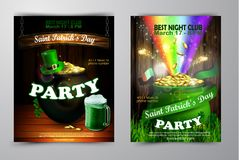 St. Patrick s Day poster. Vector illustration. St. Patrick s Day poster set. Vector illustration for party Royalty Free Stock Photo