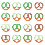 St. Patrick`s Day pretzels. Cute St. Patrick`s Day pretzels glazed with cream and chocolate vector illustration