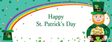 St. Patrick's Day rainbow curl banner. This illustration is design and drawing St. Patrick's Day banner with curly rainbow on white color background Stock Photo