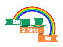 St.Patrick `s Day. Rainbow and leprechaun hat with ribbon. Celebratory banner. Vector. Illustration Stock Photography