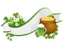 St. Patrick's Day ribbon. Decorative ribbon with beer pint, pot of gold and clover leaves Stock Photos