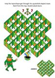 St. Patrick`s Day rooms and doors maze game - leprechaun and pot of gold Stock Photo