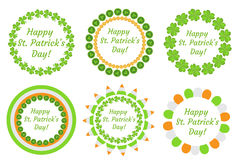 St. Patrick`s Day round frame with clover, shamrock, flags, bunting. Isolated on white background. Vector illustration. Clip art Royalty Free Stock Photography