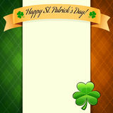 St Patrick's Day's poster with irish flag's colors. Editable pattern in swatches Stock Photo