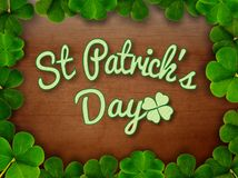 St Patrick`s Day. Saint Patrick`s Day Card or Sign to celebrate the lucky day on the 17th of March stock illustration