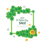 St. Patrick`s day Sale background with many clovers. Royalty Free Stock Photo