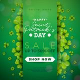 St. Patrick`s Day Sale Design, with Clover and Typography Letter on Green Background. Vector Irish Lucky Holiday Design. Template for Coupon, Banner, Voucher or vector illustration