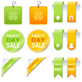 St. Patrick s Day Sale Elements Set. Collection of St. Patricks or Saint Patrick s Day sale elements: gift tags, labels, bookmarks, stickers and corner ribbons Royalty Free Stock Photography