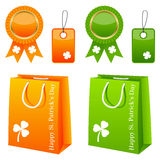 St. Patrick s Day Sale Set. Collection of St. Patricks or Saint Patrick s Day sale elements: shopping bags, award ribbons and gift tags in two different colors ( Stock Photo