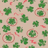 St. Patrick`s day seamless background with clovers. Vector illus Stock Photo