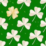 St. Patrick`s day seamless pattern with Clover leaves on green background. Trefoil and gold Four leaf paper clover. vector illustration