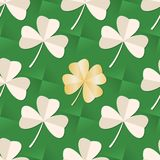 St. Patrick`s day seamless pattern with Clover leaves on green background. Trefoil and gold Four leaf paper clover. stock illustration
