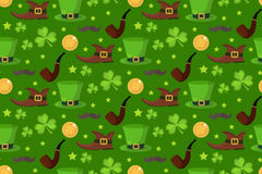 St. Patrick s Day seamless pattern. Endless background texture. Vector illustration. Stock Photos