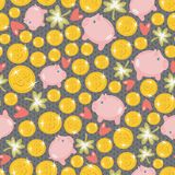 St. Patrick's day seamless pattern with piggy. Stock Photos