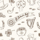 St. Patrick`s Day seamless pattern. Vector illustration Stock Image
