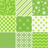 St. Patrick's Day - seamless patterns set. Fresh green vector seamless patterns collection Stock Illustration