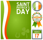 St. Patrick s Day Set. Collection for St. Patricks or Saint Patrick s Day, including a background with the colors of the flag of Ireland, a badge or button, a Royalty Free Stock Images