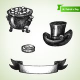 St. Patrick's Day set with hand drawn sketch pot, Royalty Free Stock Photography
