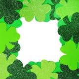St. Patricks Day. Shamrock Frame. Isolated on white Royalty Free Stock Image