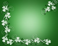 St Patrick's Day Shamrocks Border. 3D Illustration for St Patrick's Day Card, background, border or frame with white shamrocks Royalty Free Stock Image