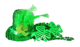 St. Patrick's Day. Shiny Hat and Glasses Stock Image