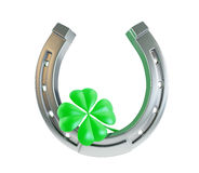 St. Patrick's day silver horseshoe Royalty Free Stock Image