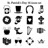 St. Patrick's Day 16 simple icons set Royalty Free Stock Photography
