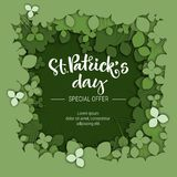 St. Patrick`s day special offer sale calligraphy logo on green paper cut clover background stock illustration