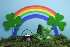 St Patrick's Day still life with leprechaun hat and rainbow. Royalty Free Stock Image