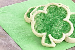 St. Patrick's Day Sugar Cookies. Freshly baked St. Patrick's Day sugar cookies on a green napkin Stock Photos